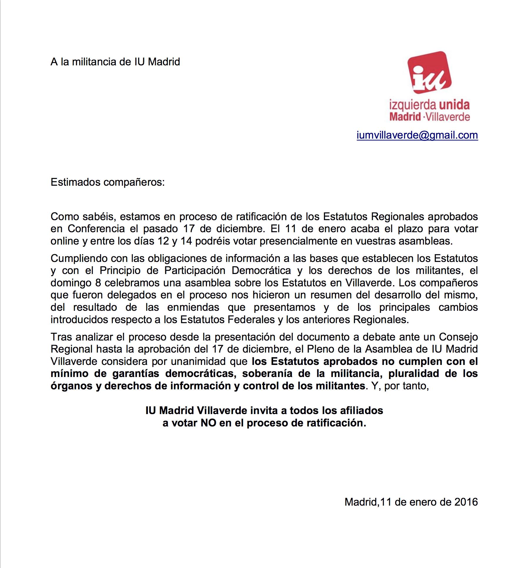 Comunicado IU Villaverde